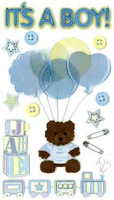EK Success - Jolee's Boutique - 3 Dimensional Stickers with Epoxy and Glitter Accents - It's a Boy at Scrapbook.com