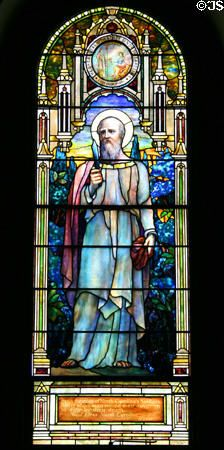 A unique memorial to North Carolina's soldiers at the Blandford Church in Petersburg, Virginia, erected in 1735. The church has the world's largest collection of stained glass windows crafted by Louis Comfort Tiffany. St. Bartholomew is pictured to represent the heroic sacrifices of North Carolina's sacrifices for Virginia, his knife notes his fate as he was flayed alive for bringing Christianity to Armenia.
