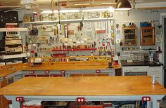 https://flic.kr/p/58Powh | Woodshop 01 (17) | North wall with tools and audio gear.   Looking across my 4' x 8' assembly table.  Lots of outlets along the bench top edge.