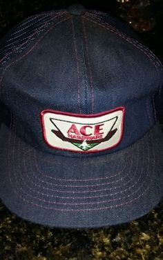 de60c6794eccb ACE Hardware Denim Blue Jean Trucker Hat Adjustable Snapback Mesh Cap  Vintage