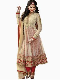 Offwhite with Brick Red Embroidered Net Anarkali Suit salwar Kameez