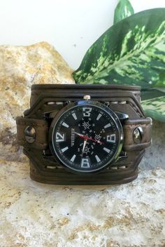 33227c95 Mens Watch cuff, Leather wrist watch, men's leather cuff, Wristband,  Chocolate Brown