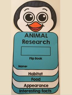 ANIMAL RESEARCH: Animal research flip book - This flip book is hands-on, easy to assemble and fun!   It includes : - Flip book with categories (habitat, food, appearance and interesting facts)