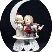 Airplane Pilot Precious Moments Wedding Cake Topper Top Flying Photo