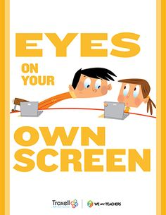 Eyes on Screen Poster: Think this might go well in the technology lab, or in the classroom too. Computer Lab Decor, Computer Teacher, Computer Class, Computer Lab Rules, Computer Lessons, Computer Coding, Printable Classroom Posters, Classroom Signs, School Classroom