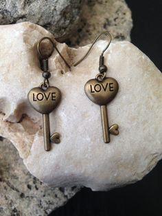 $10 Valentine's Day Heart Shaped Key Earrings w/ by ArcanumByAerrowae