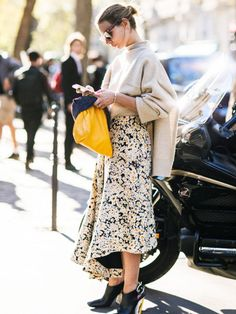 Meadow-style florals are cute, but we prefer them worn with edgy black shoes and a jumbo sweater.