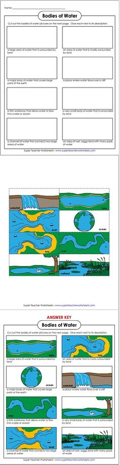 This bodies of water cut-and-glue activity is great to use with our landforms worksheets!
