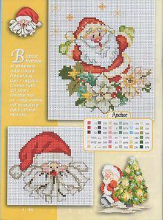 Santa 1 of 2 Santa Cross Stitch, Cross Stitch Charts, Cross Stitch Designs, Cross Stitch Patterns, Cross Stitching, Cross Stitch Embroidery, Christmas Embroidery Patterns, Stitch Book, Cross Stitch Needles