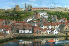 Whitby Harbour, North Yorkshire England. A painting by Richard Harpum