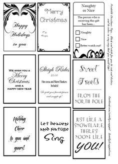 Free printable tags, including Christmas