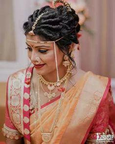 Engagement saree color Indian Bridal Photos, Bridal Hairstyle Indian Wedding, Indian Bridal Fashion, Indian Bridal Makeup, Indian Wedding Jewelry, Marathi Bride, Marathi Wedding, Saree Wedding, Wedding Bride
