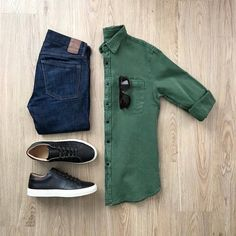 Simplicity is 🔑. What would you add to this outfit? Please rate this outfit below ⤵️ Shirt: Jeans: Shoes: Shades: Mosley Tribes . Smart Casual Outfit, Mens Casual Dress Outfits, Stylish Mens Outfits, Men Dress, Men Casual, Casual Attire, Dress Shoes, Men Style Tips, Mode Style