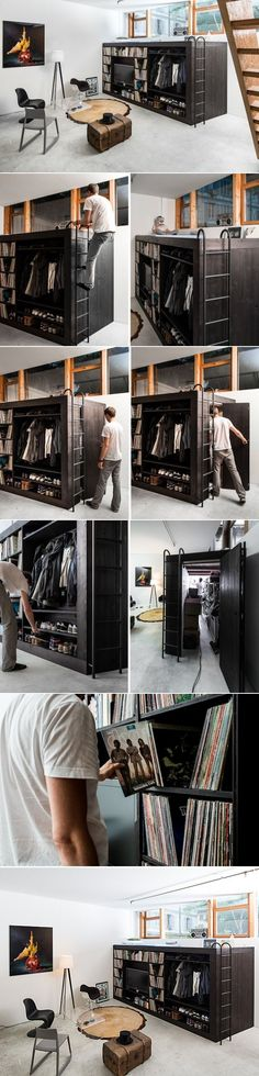 http://inthralld.com/2013/08/living-cube-designed-for-a-tiny-basement-apartment/ / It's a man's world !! #smallroomdesignapartments
