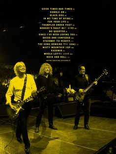 Led Zeppelin's set list at the O2 Arena concert, 2007, London.