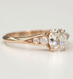 Single Stone Rose Gold Diamond Ring