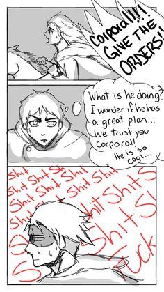 Attack on Titan/Shingeki no Kyojin Manga Anime, Anime Meme, Attack On Titan Funny, Attack On Titan Anime, I Love Anime, Me Me Me Anime, Aot Funny, Funny Comics, Saiunkoku Monogatari