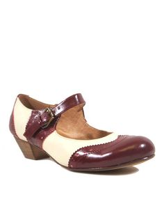 Burgundy & White Sweety Mary Jane #zulily #ad *These just make me want to swing dance