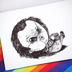 Chicago-based illustrator Alex Solis ( previously ), has created this incredible illustration series that features famous monsters and other terrifying characters from horror movies and tales as babies. Horror Movie Characters, Horror Movies, Horror Cartoon, Horror Villains, Horror Icons, Horror Film, Freddy Krueger, Beetlejuice, Michael Myers