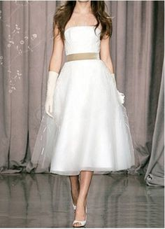White Strapless Sash Satin Organza Mini Wedding Dress.. $84.99