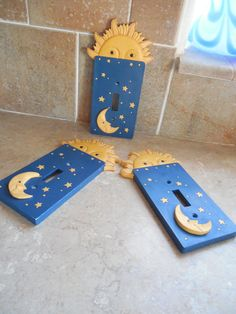 Sun and moon ceramic Switch plates with by funfindingsforsale