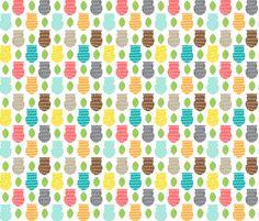 Owl Scribble fabric by joannepaynterdesign on Spoonflower - custom fabric