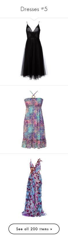 """Dresses #5"" by asiebenthaler ❤ liked on Polyvore featuring dresses, vestidos, black, valentino, a line tulle dress, v neck dress, a line silhouette dress, v neckline dress, tulle cocktail dresses and purple"
