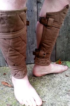 Arthur Padded Fabric Greaves - Brown