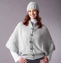 BERNAT® softee chunky Ragg Cape and Hat (to knit)