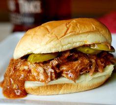 Slow Cooker Bourbon Pulled Pork on MyRecipeMagic.com