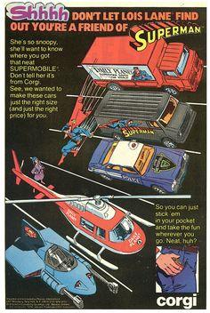Corgi DC Superheroes die-cast cars from 1980 Batman And Superman, Batman Comics, Vintage Advertisements, Vintage Ads, Vintage Stuff, Comic Book Frames, Corgi Toys, Retro Toys, Classic Toys