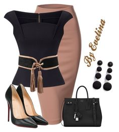Featuring Doublju, Roland Mouret, Balmain, Yves Saint Laurent, Christian Louboutin and Kenneth Jay Lane Mode Outfits, Office Outfits, Classy Outfits, Chic Outfits, Modelos Fashion, Looks Chic, Professional Outfits, Complete Outfits, Mode Inspiration