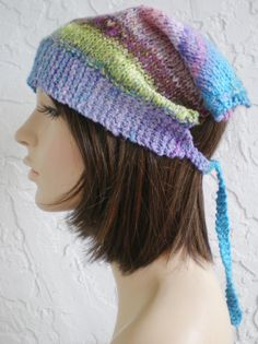 hand knit bandana kerchief gypsy pirate scarf hat  color by annmag