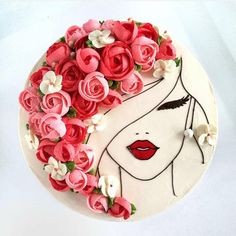 Image could contain: flower - cake decorating recipes kuchen kindergeburtstag cakes ideas Pretty Cakes, Cute Cakes, Beautiful Cakes, Beautiful Birthday Cakes, Buttercream Flowers, Buttercream Frosting, Fancy Cakes, Girly Cakes, Savoury Cake