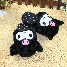 $24.80 NEW2013 Unique Japan My Melody Kuromi Face Head Cute Plush Slippers RARE | eBay