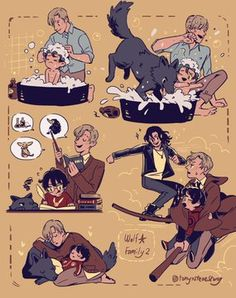 If Sirius and Remus raised Harry. Harry Potter Anime, Harry Potter World, Harry Potter Comics, Harry Potter Fan Art, Memes Do Harry Potter, Mundo Harry Potter, Harry Potter Ships, Harry Potter Drawings, Harry Potter Universal