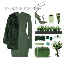 """Monochrome: EverGREEN look"" by martinadlc ❤ liked on Polyvore featuring 3.1 Phillip Lim, Judith Leiber, Vintage, LSA International, Casadei, Dolce&Gabbana, MANGO, Asprey, Aesop and CARAT* London"