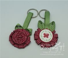 Stampin' Up!   by Tanya Bell at Stamping T! - Ribbon Rose Key Rings