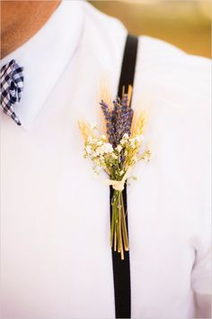 Baby's breath, lavender and wheat wedding boutonniere