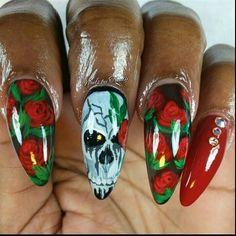 """""""Skull and roses"""" by teecee - Nail Art Gallery nailartgallery.nailsmag.com by Nails Magazine www.nailsmag.com #nailart"""