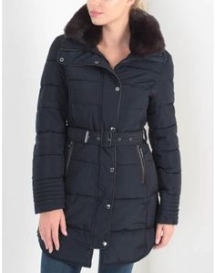 The Rino & Pelle navy blue Blush Belted jacket with a faux fur collar. Summer Is Coming, Belstaff, Belted Coat, Faux Fur Collar, Coats For Women, Looks Great, Blush, Winter Jackets, Navy