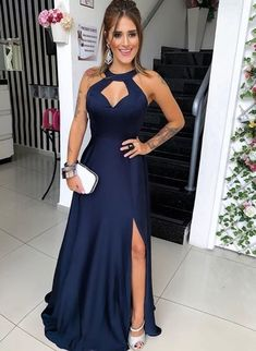 Unique Prom Dresses, Navy Blue Floor Length Evening Dress, Long Prom Dress with Slit, Formal Gown, There are long prom gowns and knee-length 2020 prom dresses in this collection that create an elegant and glamorous look Sexy Dresses, Evening Dresses, Fashion Dresses, Prom Dresses, Dress Prom, Wedding Dress, Halter Dresses, Women's Fashion, Gown Dress