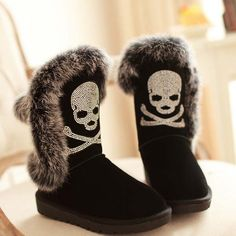 black boots,Rhinestone skull boots,winter boots for women,pirate boots-WANT!