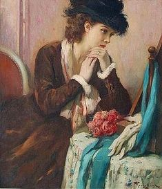 "Fernand TOUSSAINT - ""BROWN DRESS IN BOUDOIR"""