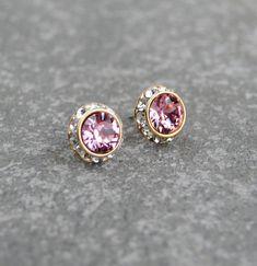 Light Pink Earrings Diamond Rhinestone Stud Earrings Swarovski Crystal Pink Diamond Post Dangle Earrings Mashugana