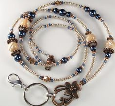 Beaded Lanyard MOONLIT WATERS Glass and Pearls ID by curlynetto, $21.99