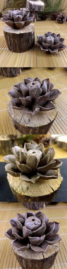 UR Home Decor Handmade Clay Ceramic Incense Holder Lotus Leaf Incense Burner
