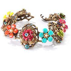 Sweet Romance Bronze Mayan Garden Flower Link Bracelet ($49) ❤ liked on Polyvore featuring jewelry, bracelets, blue, rose jewelry, daisy flower jewelry, flower jewellery, sweet romance and blue bangles