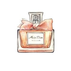 Miss Dior, Perfume Bottle, Watercolor Illustration, Art Print. Illustration Mode, Watercolor Illustration, Watercolor Art, Illustrations, Miss Dior, Perfumes Dior, Chanel Perfume, Bottle Drawing, Bottle Painting