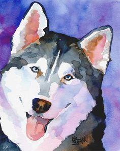 Husky Siberiano impresión del arte de la Acuarela por dogartstudio, $12.50